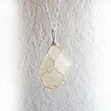 wire wrapped real sea glass in sterling silver, beautiful gift