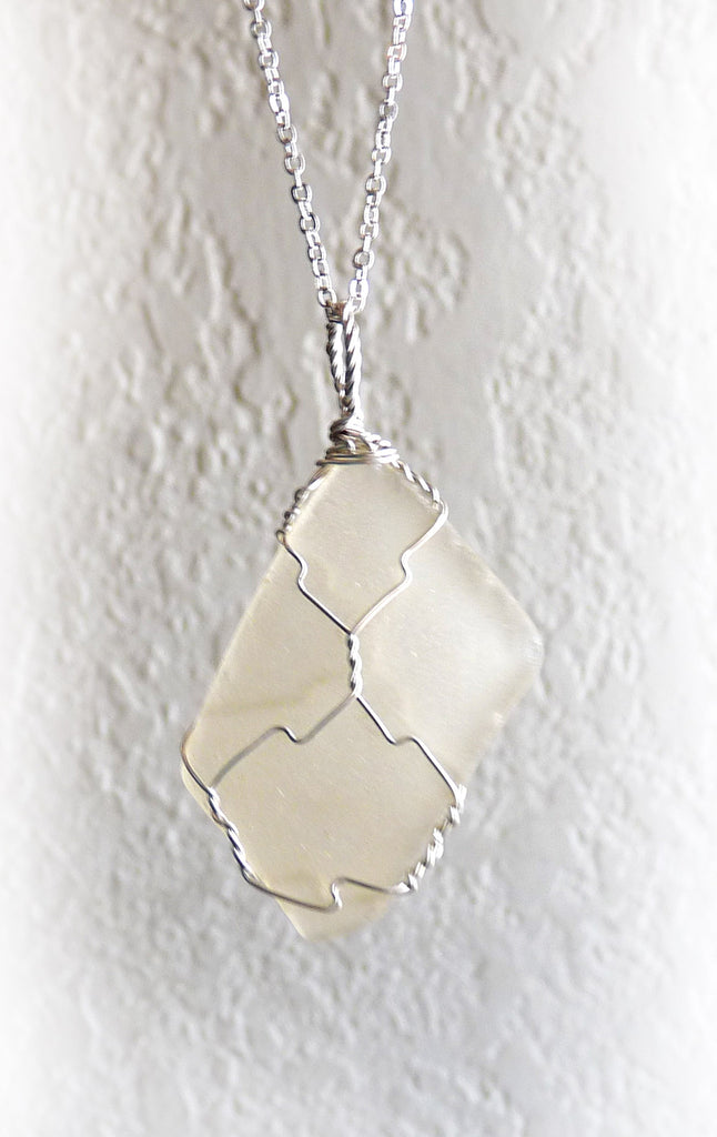 Sea Glass and Sterling Pendant - Frosted Clear Rhomboid – Rhonda ...