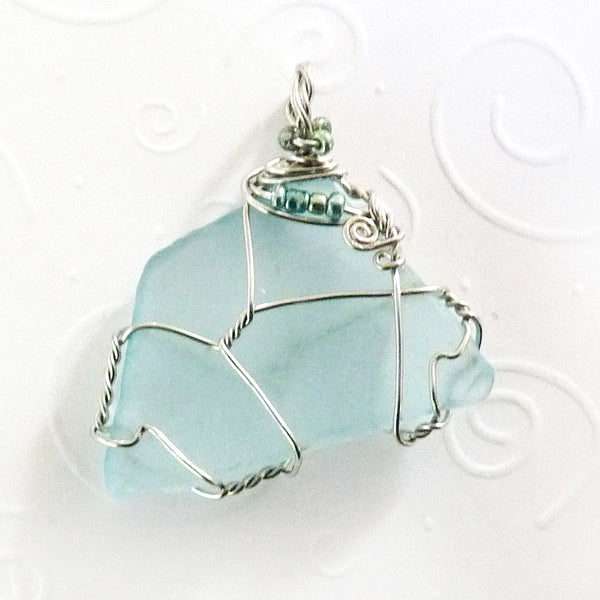 Aqua & Silver, Wire Wrapped with Beads necklace women