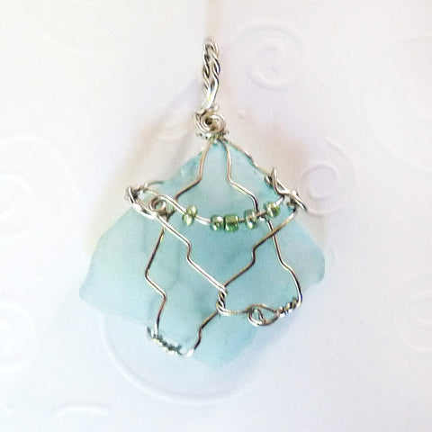 Aqua & Silver Diamond shape, Wire Wrapped handmade