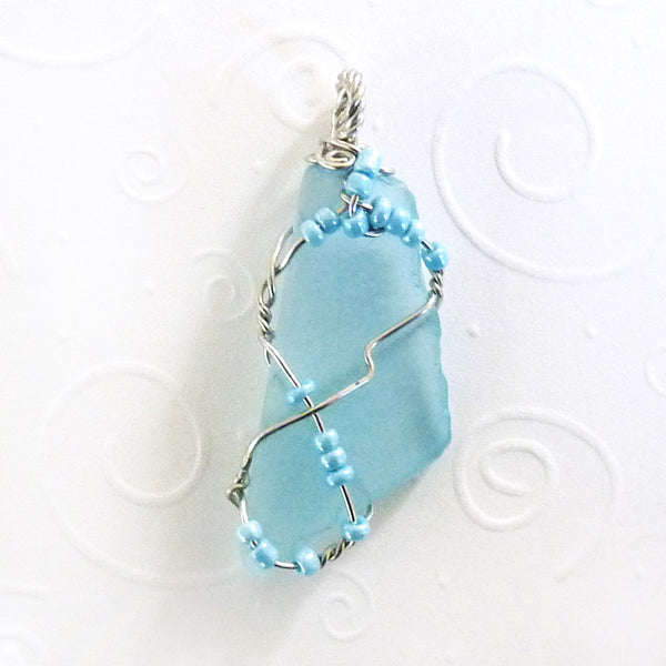 Aqua & Silver boho Wire Wrapped pendant with blue Beads