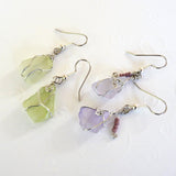 Sea Glass Earrings, green, purple boho bohemian, dangles