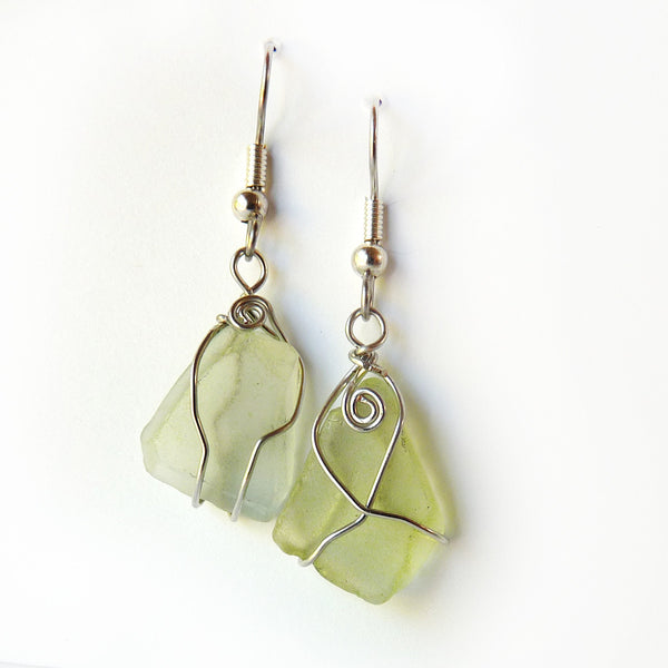 Sea Glass Earrings, Handmade dangle green & silver OOAK