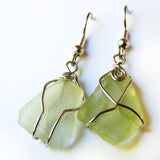 Sea Glass Earrings, Handmade dangle light green bohemian