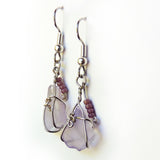 Sea Glass Earrings, Handmade dangle purple, silver OOAK
