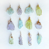 12 cultured sea glass pendants blue, green, purple OOAK