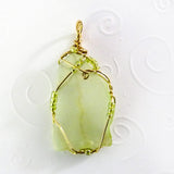 Lime & Gold Wire Wrapped Handmade Beaded Jewelry