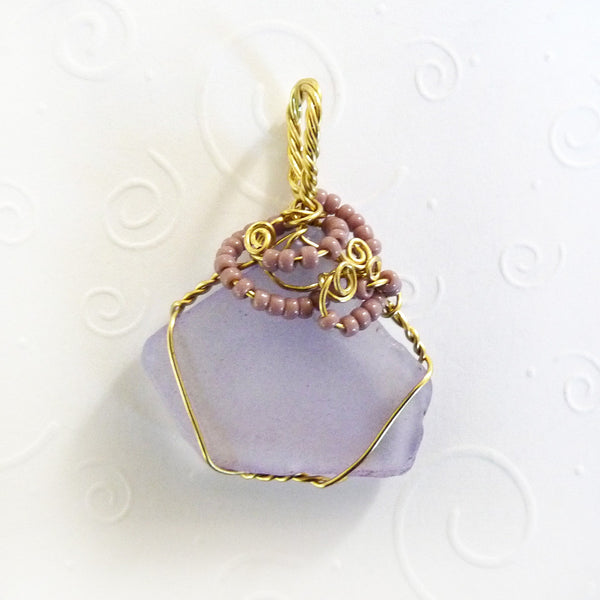 handmade seaglass pendant lavender, gold, purple gifts