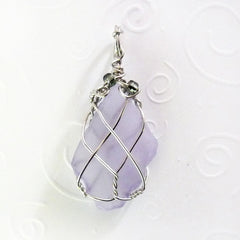 handmade purple sea glass pendants for women mom OOAK