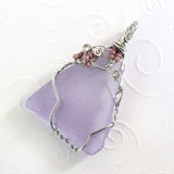 purple triangle and silver sea glass jewelry handmade OOAK