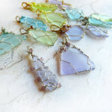 Cultured Sea Glass Pendant - Lavender & Silver Long, Wire Wrapping with Beads