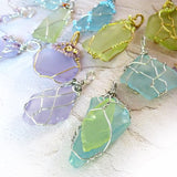 Gifts for women boho sea glass pendant silver green blue