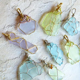 Cultured Sea Glass Pendant - Lime & Gold Wire Wrapped Beaded Jewelry