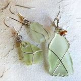 Cultured Sea Glass Pendant - Lime & Silver Wire Wrapped Beaded Jewelry