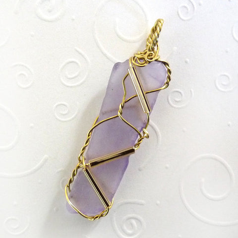 purple and gold sea glass pendant handmade OOAK