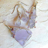 Sea Glass Handmade jewelry set bohemian boho gypsy ooak