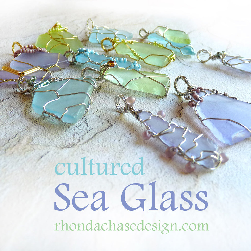 Cultured Sea Glass Pendant - Lime & Gold Wire Wrapped Beaded Jewelry ...