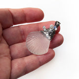 Cultured Sea Glass Shell Pendant Necklace - Stainless Steel Handmade Wire Wrapped Pendant - Recycled Glass & Stainless Steel