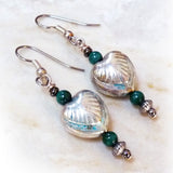 Art Deco Hearts & Malachite Dangle Earrings - silver, green