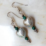 Art Deco Heart and Malachite Bead Silver & Green Earrings