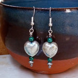 Hanging Art Deco Heart & Malachite Bead Earrings