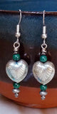 Vertical Art Deco Hearts & Malachite Dangle Bead Earrings