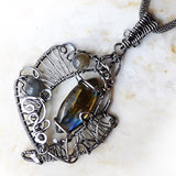 Labradorite & silver OOAK wire wrapped pendant necklace