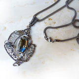 Labradorite & silver handmade stainless steel chain necklace
