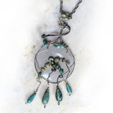 Sterling silver, natural turquoise, OOAK, pendant necklace