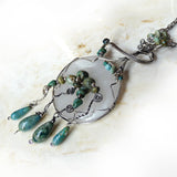 Sterling silver & genuine turquoise handmade pendant necklace