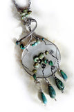 Sterling & natural turquoise w teardrops OOAK necklace