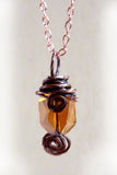 copper wire wrapped handmade pendant w amber crystal