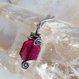 ruby red crystal handmade wire wrapped sterling pendant