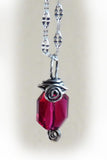 hanging red crystal handmade wire wrapped silver pendant