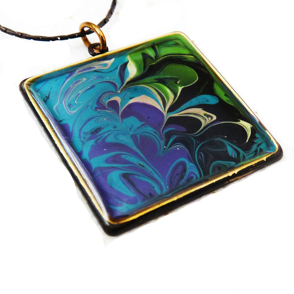 hand painted pendant in antiqued bezel by Rhonda Chase