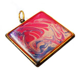 hand painted pink pendant, antiqued bezel by Rhonda Chase