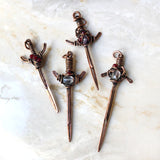 Copper Sword Wire Gemstone Handmade Mens Necklace Jewelry