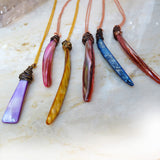 Colorful mother of pearl wire wrapped pendants OOAK