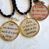 3 Resin Shakespeare Quote Pendants-Food of Love Alt.