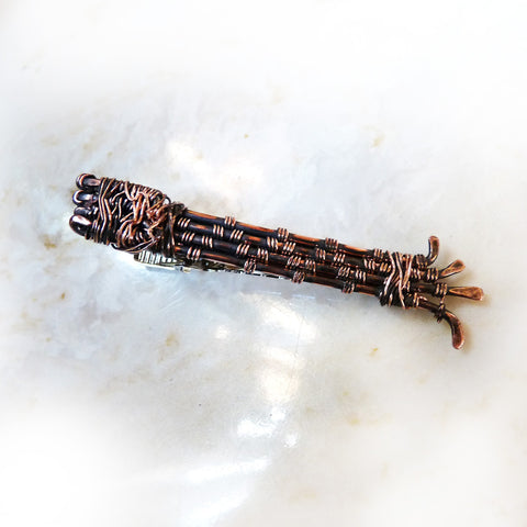 Handmade tribal wire weave tie bar tie clip oxidized copper