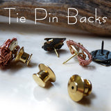 tie tack, tie pin, tie tac, backs - brass, bronze, copper, black