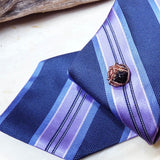 Mens fashion suit tie tack tie tac tie pin black & copper