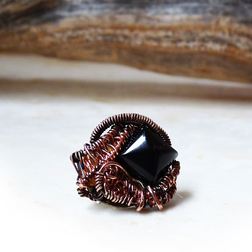 Mens rhonda chase design black pyramid tie tack handmade wire wrapped jewelry for men publicscrutiny Image collections
