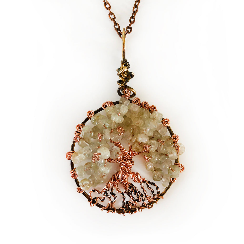 Yellow Jade Copper Wire Wrapped Pendant Pale Green Tree Of Life