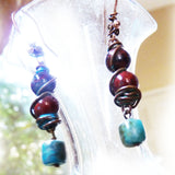 Close up of handmade rustic earrings in turquoise & jasper