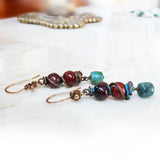 Handmade rustic earrings, copper, turquoise & jasper