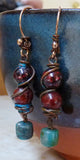 Hanging rustic wire earrings, copper, turquoise, jasper