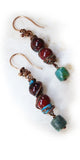 vertical handmade rustic earrings in turquoise & jasper