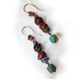 Rustic handmade earrings, copper, blue-geen & brown