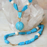 blue chalk turquoise with sphere and gold filled